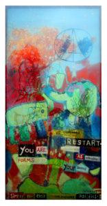 """""""图鸦""""系列NO23-太平有象-200X95CM-亚麻布,纱网,油彩-2016-.jpg"""