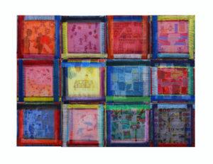"""""""图鸦""""系列NO46-窗格的记忆NO6-30X30CM-亚麻布,特制纱网,油彩-2016-2017-白-.jpg"""