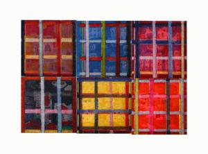 """""""图鸦""""系列NO47-窗格的记忆NO7-50X50CM-亚麻布,特制纱网,油彩-2016-2017-组合1白-.jpg"""