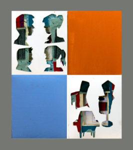 """""""图鸦""""系列NO56-窗格的记忆-20X24CM-纸雕,油彩,亚麻布-2018-组合2-灰.jpg"""