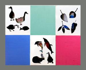 """""""图鸦""""系列NO57-窗格的记忆-30X24CM-纸雕,油彩-,亚麻布-2018-组合1-灰.jpg"""
