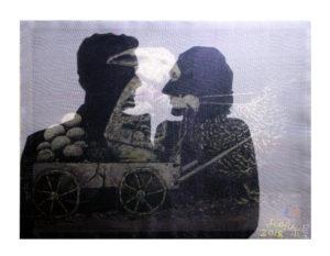 """""""图鸦""""系列NO59-回娘家-60X80CM-亚麻布特制纱网,油彩-2018-白新-.jpg"""
